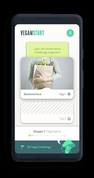 handy mit Veganstart-App 30 tage challenge