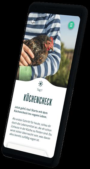 Handy mit Veganstart-App, tag 1